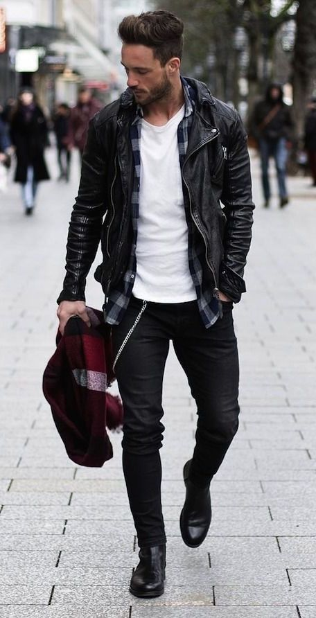 Magic Fox With A Fall Layering Idea With A With White T Shirt Gray Black Plaid Button Up Flannel Black Le Mens Outfits Mens Street Style Mens Fashion Casual