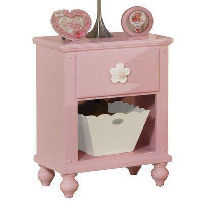Harriet Bee Dermot Creative Home Office Utility Wooden 1 Drawer Nightstand In 2020 Pink Nightstands Wooden Nightstand Acme Furniture