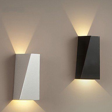 Wall Sconces Led Modern 1 Light Contemporary White And Black Metal 110 120v With Images Modern Wall Lamp Wall Light Fittings Led Wall Lights
