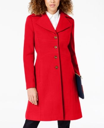 Tommy Hilfiger Single Breasted Peacoat Created For Macy S Red Coats For Women Petite Winter Coats Coat Dress