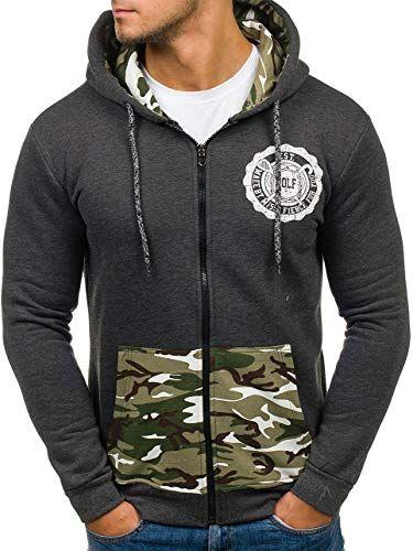 Herren Kapuzenpullover Sweatjacke Pullover Hoodie Sweatshirt Zip BOLF 1A1 Camo