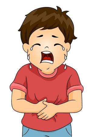 Ilustracion De Un Nino Llorando De Dolor Mientras Agarrandose El Estomago Actividades De Ingles Para Ninos Rutina Diaria De Ninos Historias De La Biblia Para Ninos