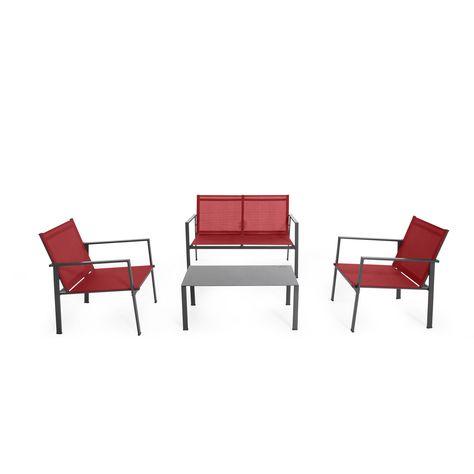 Salon de jardin 4 éléments Rouge - Sofia - Les canapés et ...