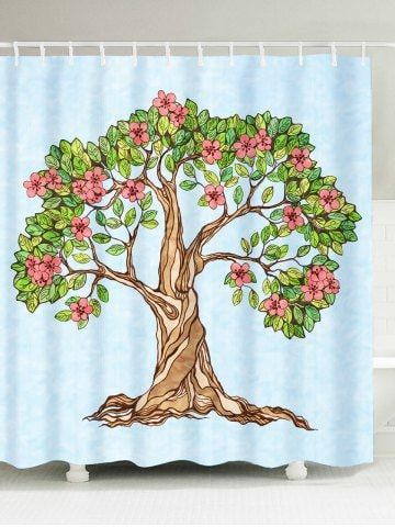 Waterproof Floral Tree Of Life Shower Curtain Curtains Cheap