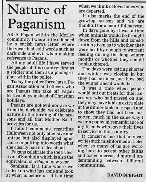 The Nature of Paganism, a NEWS article