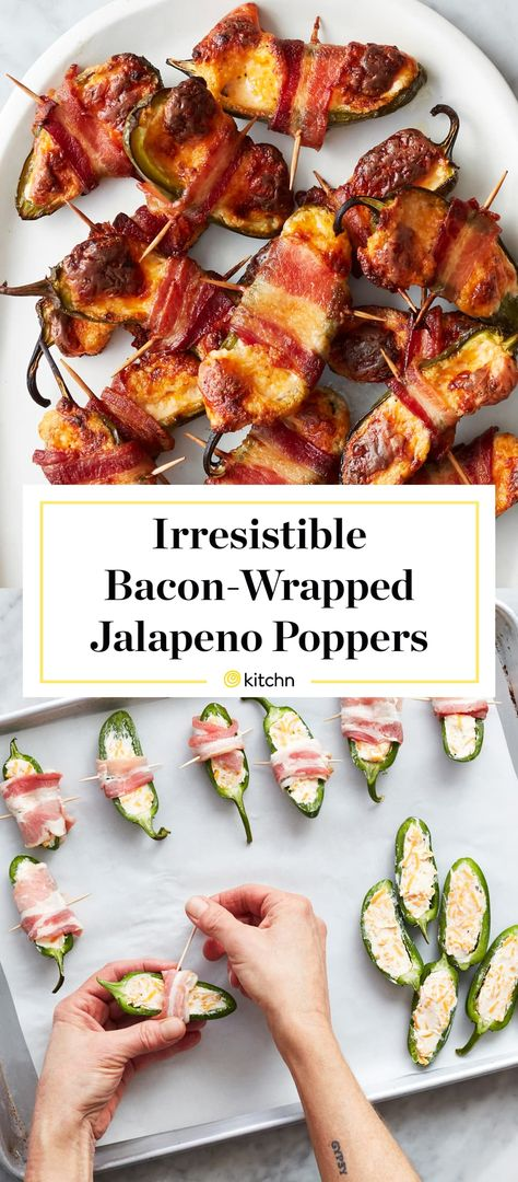 Our Best-Ever Bacon Wrapped Jalapeño Poppers Are a Show-Stealing Feast - jalapeno Bacon Wrapped Jalapeno Poppers, Stuffed Jalapenos With Bacon, Stuffed Hot Peppers, Bacon Wrapped Avocado, Best Bacon, Appetizer Recipes, Bacon Appetizers, Quick Appetizers, Quiche Recipes