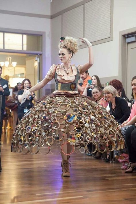 Skirt made of masking tape rolls/circles