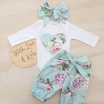Newborn Kid Baby Girl Floral Clothes Jumpsuit Romper Bodysuit Pants Outfit Set z