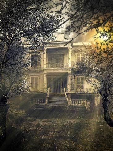 Photographic Print: Old Abandoned Scary Haunted House by Netfalls : Abandoned Places In The Uk, Abandoned Mansion For Sale, Old Abandoned Houses, Abandoned Buildings, Scary Houses, Scary Haunted House, Most Haunted Places, Scary Places, Old Mansions