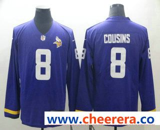 new product 1daeb 3fd9a Men's Minnesota Vikings #8 Kirk Cousins Nike Purple Therma ...