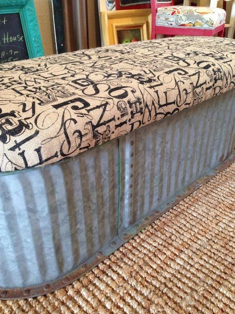Glavanized tub/storage ottoman...would be great for a patio if you used a weather resistant fabric