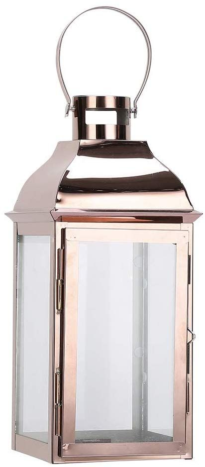 JHY DESIGN Rose Gold Decorative Lanterns 16 inch High Stainless Steel Candle Lanterns with Tempered Glass.for Indoor Outdoor,Events,Parities and Weddings