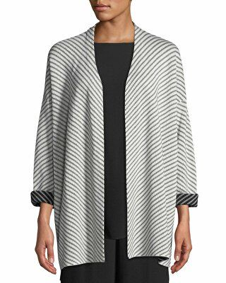 8efd696d35b Eileen Fisher Designer Optic Striped Silk/Cotton Cardigan | Clothing ...