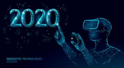 Low Poly 3d 2020 Date Number Holiday Greeting Card Happy New Year High Technology Virtual Reality En In 2020 Holiday Greeting Cards Technology Vintage Graphic Design