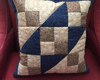 Navy Quilted Pillow Etsy Quilted Pillow Pillows Navy Quilt