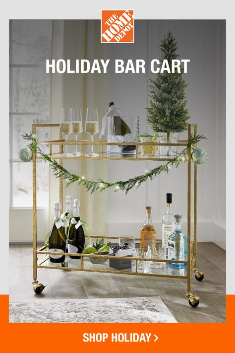 Make spirits bright with this gilded bar cart. An eye-catching accent itself, this cart can hold just about anything you need. From coffee and desserts, to cocktails and even decorative displays, there's no shortage of function and style. Tap to shop online at The Home Depot for festive barware, so you can take the party wherever you want, whenever you want.