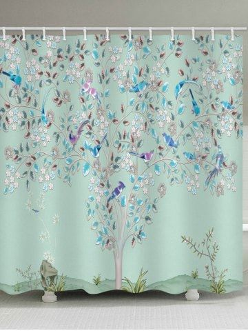 Floral Tree Birds Print Waterproof Shower Curtain For The Home