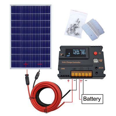 Eco 100w Watt Complete Solar Panel Kit 12v Battery Charge For Caravan Rv Camping Solar Panel Kits Solar Panels 12v Solar Panel