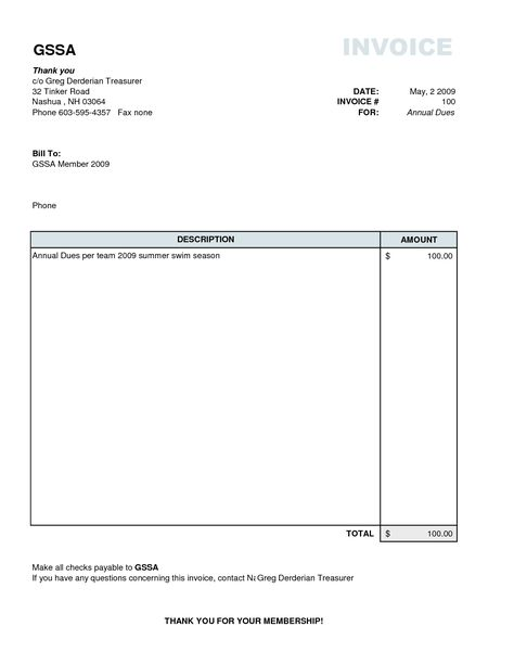 Plain Invoice Template Basic Invoice Template Excel Basic Simple    Membership Invoice Template  Plain Invoice Template