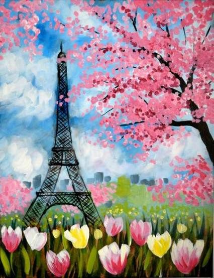 Painting Ideas On Canvas For Beginners Spring 70 New Ideas Canvas Art Projects Paris Painting Paris Canvas