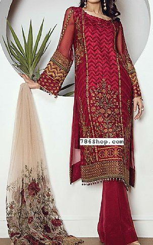 7a42f035e Burgundy Chiffon Suit | Buy Baroque Pakistani Dresses and Clothing online  in USA, UK