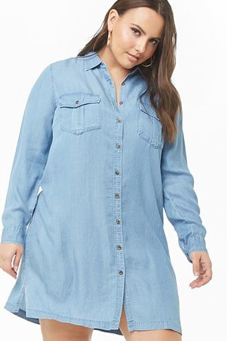 Plus Size Chambray Shirt Dress   Plus size outfits, Casual ...