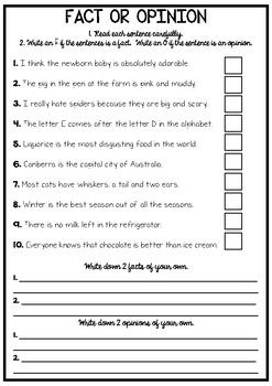 Fact Or Opinion Worksheet Fact And Opinion Fact And Opinion