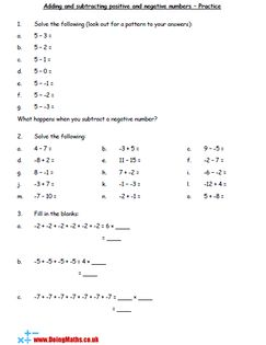 Adding And Subtracting Positive And Negative Numbers Practice Worksheet Negative Numbers Worksheet Number Worksheets Negative Numbers