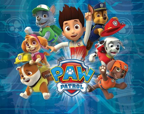 Large size wallpaper mural for boy's and girl's room. Paw Patrol Paper wallpaper ideas. Worldwide shipping. Free UK delivery.