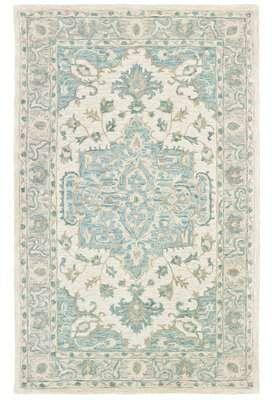 Bungalow Rose Adelbert Oriental Handmade Tufted Wool Cotton Turquoise Gray Area Rug Grey Area Rug Rugs Area Rugs