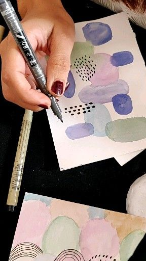 Ink on Watercolor with mark makiy technic. #watercolors #watercolorabstract #abstractart #inkonwatercolor