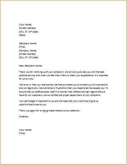 Letter of apology for poor service DOWNLOAD at http - example of sorry letter