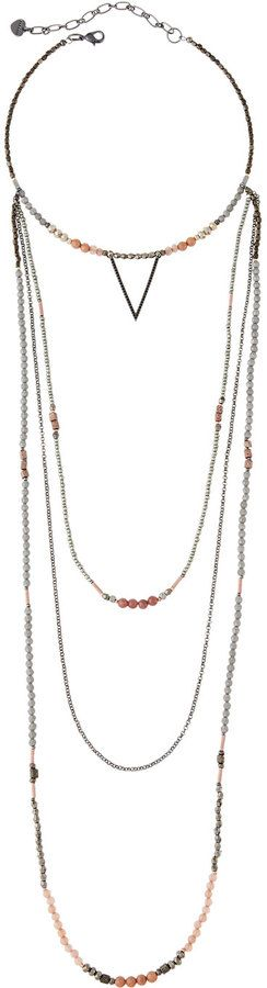 Nakamol Beaded Multi-Strand Choker Necklace w/ Moon Charm nVfqYoPX