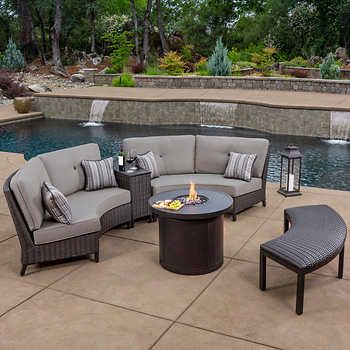 Outdoor Patio Fire Pits Sets, Patio Furniture With Fire Pit Table Costco