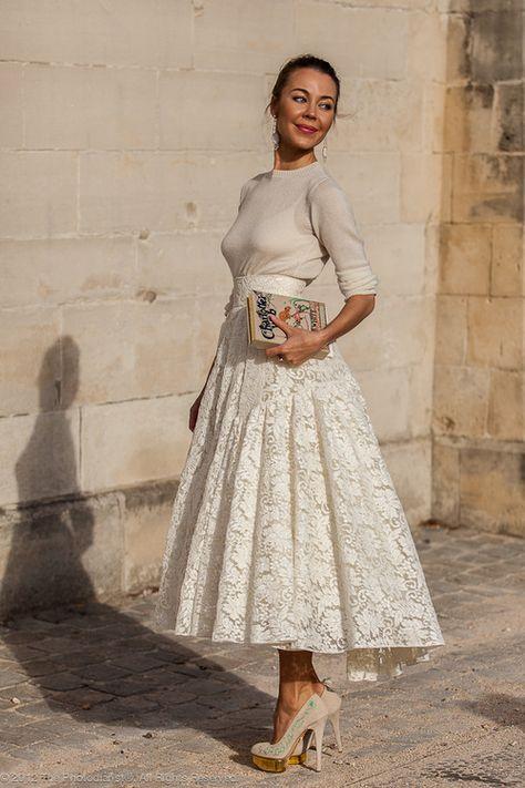 Ulyana Sergeenko all white outfit street style