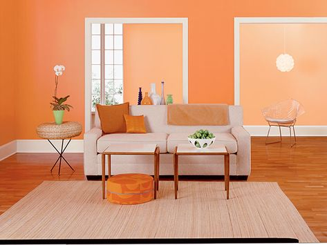 A happy, optimistic color, orange walls evoke fun and whimsy. http:/