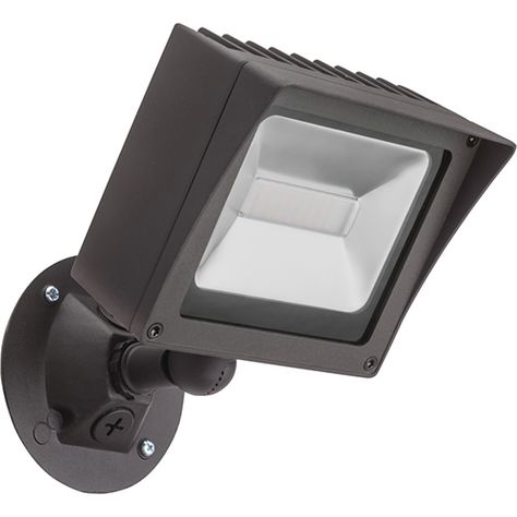 Lithonia Lighting Dark Bronze Adjustable Twin Head Integrated Led Square Wall Mount Flood Light With Dusk To Dawn Photocell Ovfl Led 2sh 40k 120 Pe Ddb Hp17 M4 Lithonia Lighting Flood