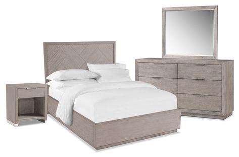 Zen 6 Piece Queen Bedroom Set With Nightstand Dresser And Mirror Urban Gray Value City Furniture Platform Bed Frame King Bedroom Sets