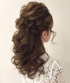 Brautfrisuren langes haar halb hochgesteckt