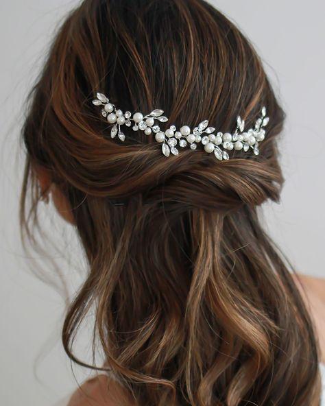 Emmy Floral Backpiece - Silver