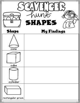2-D and 3-D Shapes Scavenger Hunt (With images) | Kinder math ...
