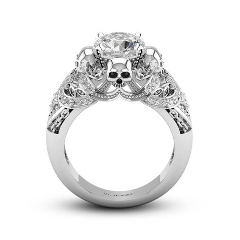 VANCARO Four Skulls Punk Style Sterling Silver Ring with Chain