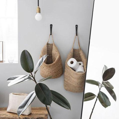 Mira Storage Basket - Small parni• Basket DIY • weaving gift bag, crochet rope decorating for storage • Fabric hanging, picnic • laundry & plant flowers ideas • rustic, farmhouse baskets •