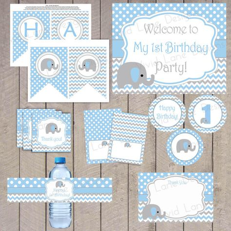 INSTANT DOWNLOAD Blue And Grey Boy Elephant Birthday Printable Package First Chevron Polka Dots 1st Party