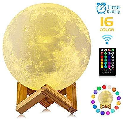 Amazon Com Moon Lamp Gdpets 3d Printing 9 6 Inches 16 Colors Moon Night Light With Stand Remote Touch Contro Night Light Home Improvement Usb Rechargeable
