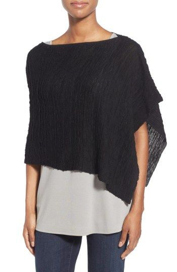 Free shipping and returns on Eileen Fisher Hemp Blend Textured Mesh Poncho at Nordstrom.com. A perfect choice when you need something super-light to complete your look when the mercury is rising. An effortless poncho of lavishly ruched mesh spun from a hemp-rich blend offers a stylish asymmetrical cut topped with a collarbone-skimming neckline.