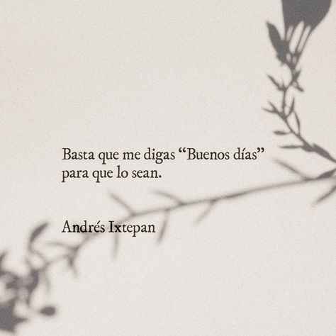 Basta que me digas buenos días para que lo sean. Andrés Ixtepan