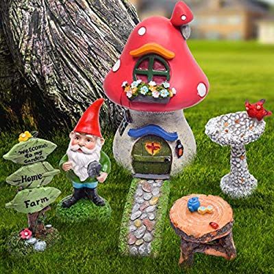 19 Teresa S Collections 6 Pcs Fairy Garden Accessories Kit Miniature Garden Gnomes Statue Mush Fairy Garden Accessories Garden Gnomes Statue Miniature Garden