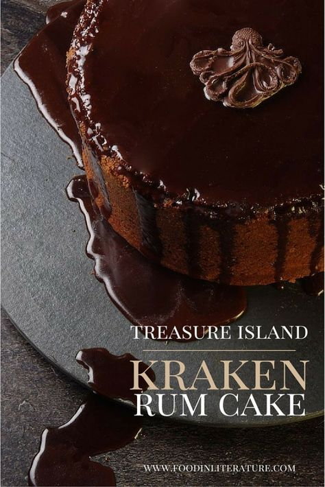 Rum is essential to pirates, so is essential at an adult pirate party. Make this Kraken Rum cake recipe for a Treasure Island themed party like we did!- Food in Literature