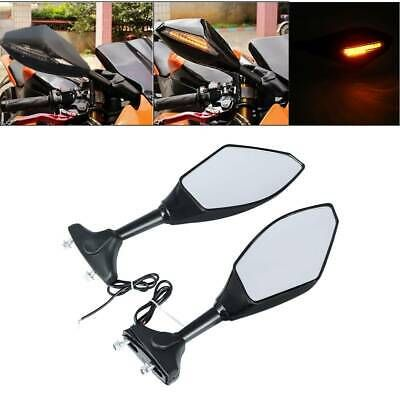Motorcycle Carbon Rearview Mirrors With LED Turn Signal For Honda Kawasaki Suzuki Carbon+Smoke Len